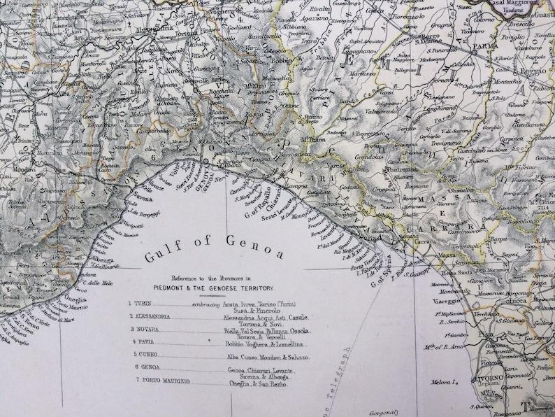 Got Karte Norden.1882 Grosse Original Antike Karte Italien Norden 15 X 22 Zoll Home Decor Kartographie Geographie Vintage Dekor Wand Karte