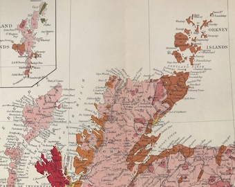 1913 Northern Scotland Original Antique Small Geological Map - UK County Map - Geology - Available Framed