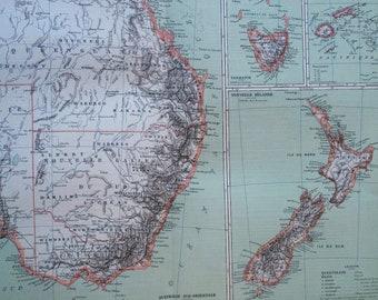 1892 Australasia Large Original Antique Map - 14.5 x 18 inches - South Australia - New Zealand - Fiji - Tasmania - Vintage Wall Decor