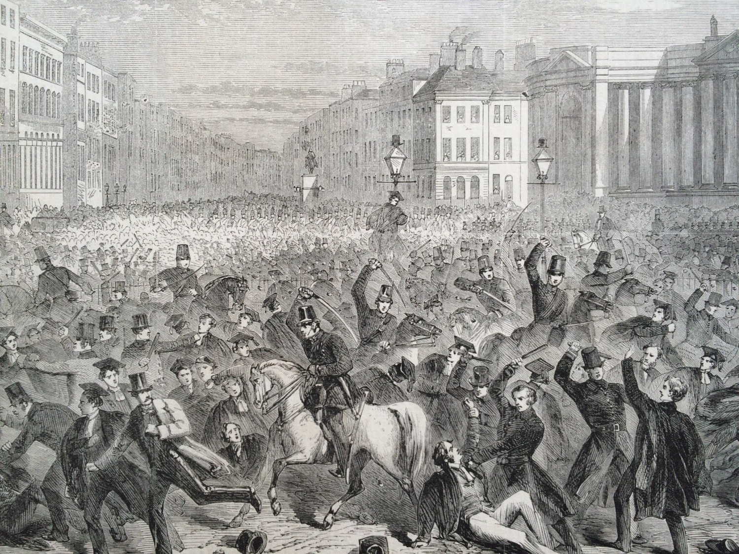 1858 Police Attack Students at Trinity College, Dublin Original Antique