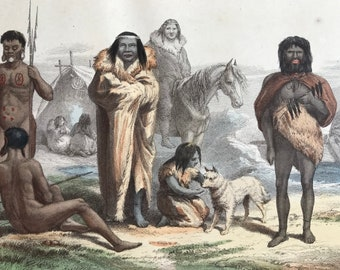 1870 Aborigines of South America Original Antique Print - Indigenous Tribes - Ethnology Human Races - Mounted and Matted - Available Framed