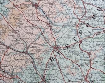 1922 original antique ordnance survey map of East England, Essex, Hertfordshire, London, Middlesex, wall decor, home decor