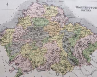 1883 Haddington Shire Shire Original Antique Map - Scottish County, cartography, Scotland, Victorian Decor