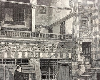 1883 Original Antique Engraving - The Cholera in Egypt: Scene in the Courtyard of a house in Cairo - Victorian Decor - Egyptian History