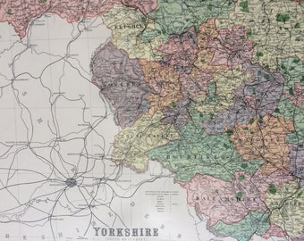1868 Yorkshire (Southwest) Large Original Antique Map showing railways, roads & parliamentary divisions - UK County - Wall Map