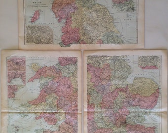 1896 ENGLAND & WALES Set of 3 Large Original Antique Maps, British History, Wall Decor, Inset maps of major British cities, Cartography