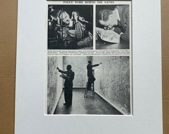 1940s Police Work behind the scenes Original Vintage Print - Mounted and Matted - Forensics - Fingerprint - Available Framed