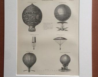 1875 Aeronautics Original Antique Matted Engraving - Hot Air Balloon - Parachute - Matted & Available Framed