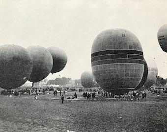 1948 The Gordon Bennett Race, 1926 Original Vintage Print - Mounted and Matted - Available Framed - Aeronautics - Balloon