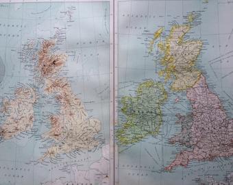 1898 BRITISH ISLES (Political & Physical) Large Original Antique Map, 14 x 18.5 inches, historical wall decor, Bartholomew map, Home Decor