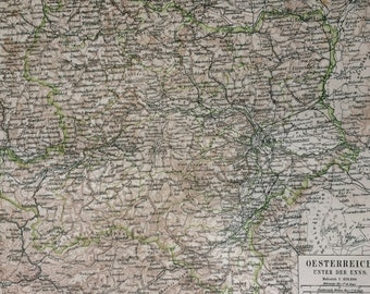 1877 Lower Austria Large Original Antique Map - Available Mounted and Matted - Vintage Wall Decor