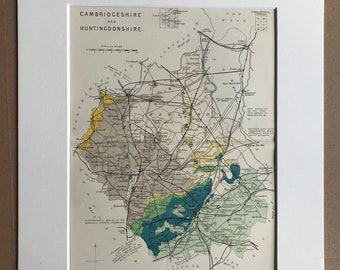 1913 Cambridgeshire and Huntingdonshire - Original Antique Small Geological Map - UK County Map - Geology - Available Framed