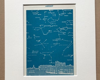 1940s August Star Map seen over Bristol Original Vintage Print - Mounted and Matted - Astronomy - Celestial Art - Available Framed