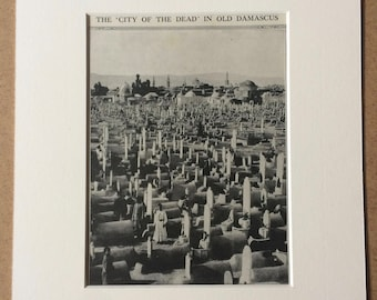 1940s The 'City of the Dead' in Old Damascus Original Vintage Print - Mounted and Matted - Cemetery - Graveyard - Available Framed