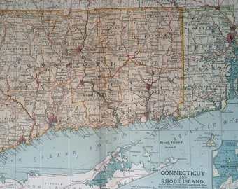 1903 CONNECTICUT & RHODE ISLAND Original Large Antique Map with inset map of Newport - Wall Map - Home Decor - Cartography - 11 x 16 Inches