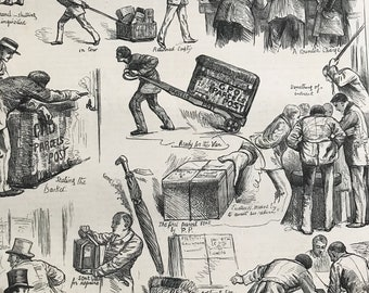 1883 The Parcels Post - Sketches on the First Day Original Antique Engraving - Victorian Decor - Royal Mail - Gift for Postman