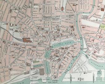 1898 Hull Original Antique Map - City Plan - England - English Town - Cartography - Gift Idea - Local History