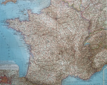 1914 FRANCE Large Original Antique Map, 17 x 22 inches, historical wall decor, Debes Atlas, Home Decor, Cartography, Geograph