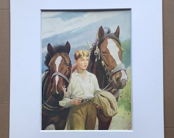 1925 Co-Partners Original Vintage Print - Horse - Animal Art - Mounted and Matted - Available Framed