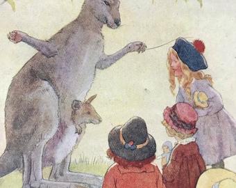 1919 Kangaroo Original Vintage Margaret W. Tarrant Illustration - Zoo - Animal Art - Available Framed - Nursery Decor - Children's Book