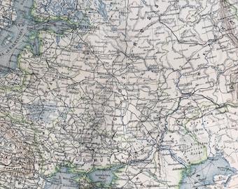 1897 European Russia Original Antique Map - Baltics - Lithuania - Finland - Latvia - Estonia - Available Mounted and Matted - Cartography