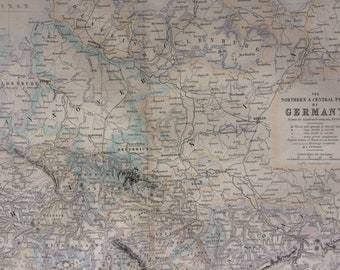 1871 Germany (Northern & Central Parts) Original Antique Map showing places by population, fortresses and completed railways