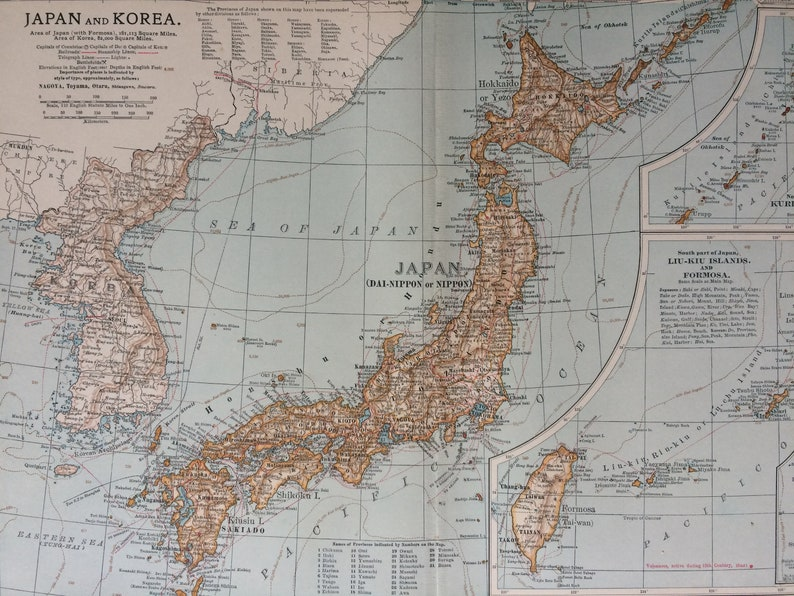 1903 JAPAN & KOREA Original Antique Map with inset maps of the Kuril on map of united states, map of lithuania, map of romania, map of the pacific ocean, map of india, map of philippines, map of asia, map of europe, map of bermuda, map of jeju island, map of slovakia, map of new zealand, map of el salvador, map of korean war, map of israel, map of korean peninsula, map of middle east, map of guam, map of seoul, map of vietnam,