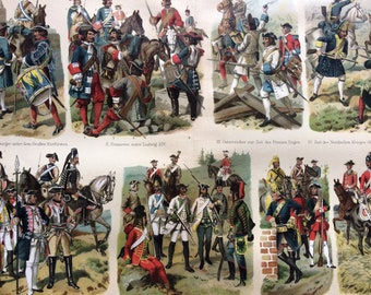 1898 Historical Military Uniforms Large Original Antique Lithograph - Available Mounted and Matted - Military Decor