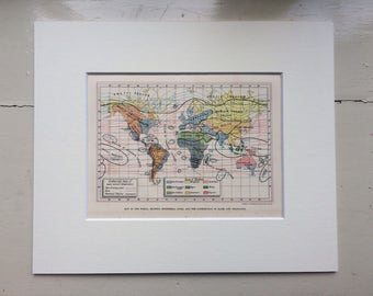 1880 Map of the World showing Isothermal Lines and the distribution of Races and Vegetation Original Matted Antique Print, 10 x 12 inches