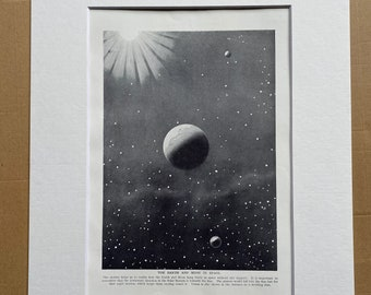 1923 The Earth and Moon in Space Original Antique Print - Astronomy - Mounted and Matted - Available Framed