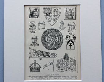 1900 Armorial Bearings Original Antique Print - Mounted and Matted - Available Framed - Armour - Shield - Abbot - Crest - Heraldry - Royalty
