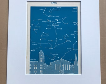 1940s April Star Map seen over Birmingham Original Vintage Print - Mounted and Matted - Astronomy - Celestial Art - Available Framed