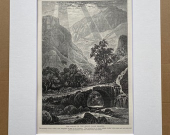 1880 The Valley of the Adonis (Nahr Ibrahim) Lebanon Original Antique Engraving - Mounted and Matted - Available Framed - Victorian Decor