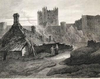 1817 Bamborough Castle - Northumberland Original Antique Engraving - North England - Vintage Wall Decor - Available Framed