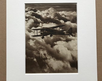 1940s D.H. Dragon Original Vintage Print - Mounted and Matted - Aircraft - Airplane - Available Framed