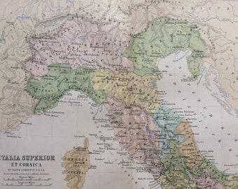 1876 Italia Superior et Corsica Original Antique Map - Classics - Ancient History Italy Map -  Gift Idea - Vintage Map - Wall Decor
