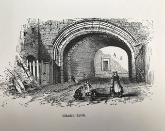 1882 Citadel, Leith Small Original Antique Print - Mounted and Matted - Edinburgh - Scotland History - Available Framed