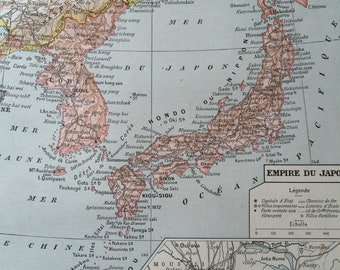 1923 Japanese Empire Original Antique Map with inset map of Tokyo - Mounted and Matted - Decorative Art - Cartography - Japan