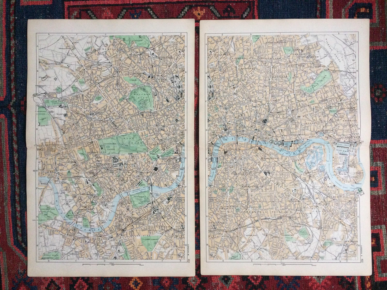 1896 London Set of 2 Large Original Antique Maps - City Plan - Road on