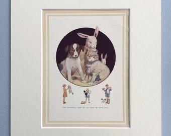 1937 Puppy, Kitten, Rabbit Original Vintage Margaret Tarrant Children's Book Illustration - Nursery Decor - Mounted and Matted - Animal Art