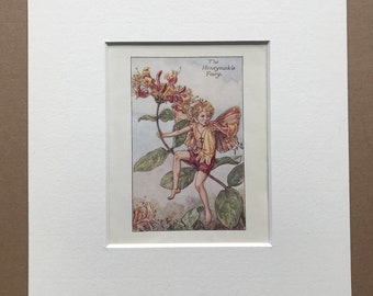 1936 The Honeysuckle Fairy Original Vintage Print - Flower Fairy - Cicely Mary Barker - Mounted and Matted - Available Framed