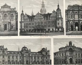 1897 Dresden Buildings Large Original Antique Print - Available Mounted and Matted - Germany - Civil Architecture - Vintage Wall Decor