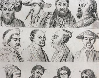 1852 Original Antique Human Races Engraving - Anthropology - Mankind - Ethnology