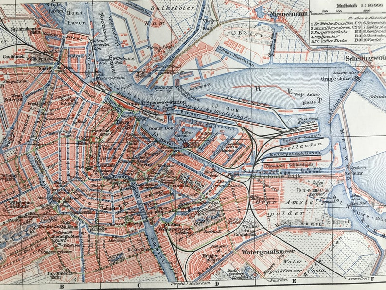 Netherlands City Plan Mounted and Matted Available Framed Holland 1924 Amsterdam Original Antique Map