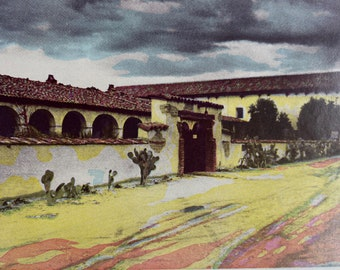 1944 Mission San Miguel Arcangel, San Miguel, Founded 1797 Original Vintage Photo Print - California - Mounted and Matted - Available Framed