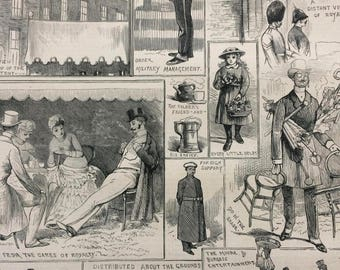 1883 Original Antique Engraving - Garden Fete at the Chelsea Hospital for the Royal Army Coffee Taverns Association - Victorian Decor
