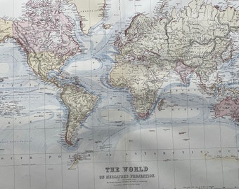 1876 Extra Large Original Antique World A & C Black Map on Mercator's Projection - Vintage World Wall map - Wall Decor - Gift Idea