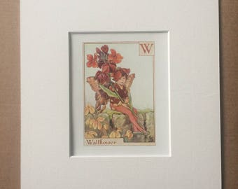 Wallflower 1930s Flower Fairy Alphabet Original Vintage Print - Cicely Mary Barker - 8 x 10 inches - Matted & Available Framed