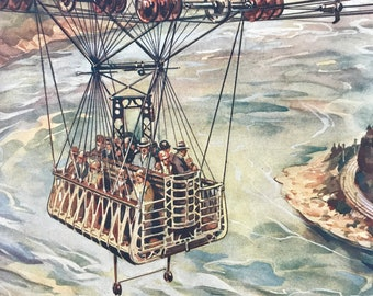 1928 Crossing the Niagara Falls by Cable Car Original Vintage Print - Engineering - Mounted and Matted - Available Framed