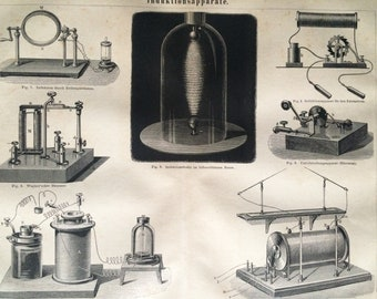 1876 Electromagnetic Induction Apparatus Large Original Antique print - Available Mounted and Matted - Physics - Victorian Technology